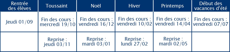 Calendrier vacances scolaires 2016-2017